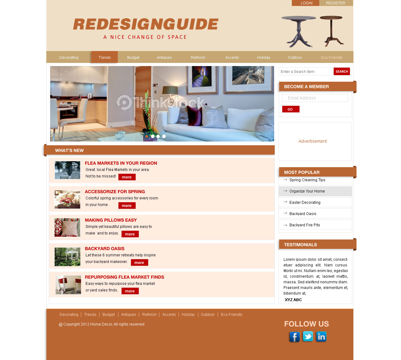 Web Page Design by Private User - Entry No. 5 in the Web Page Design Contest Unique Web Page Design Wanted for Homepage mock up for Home Decor.