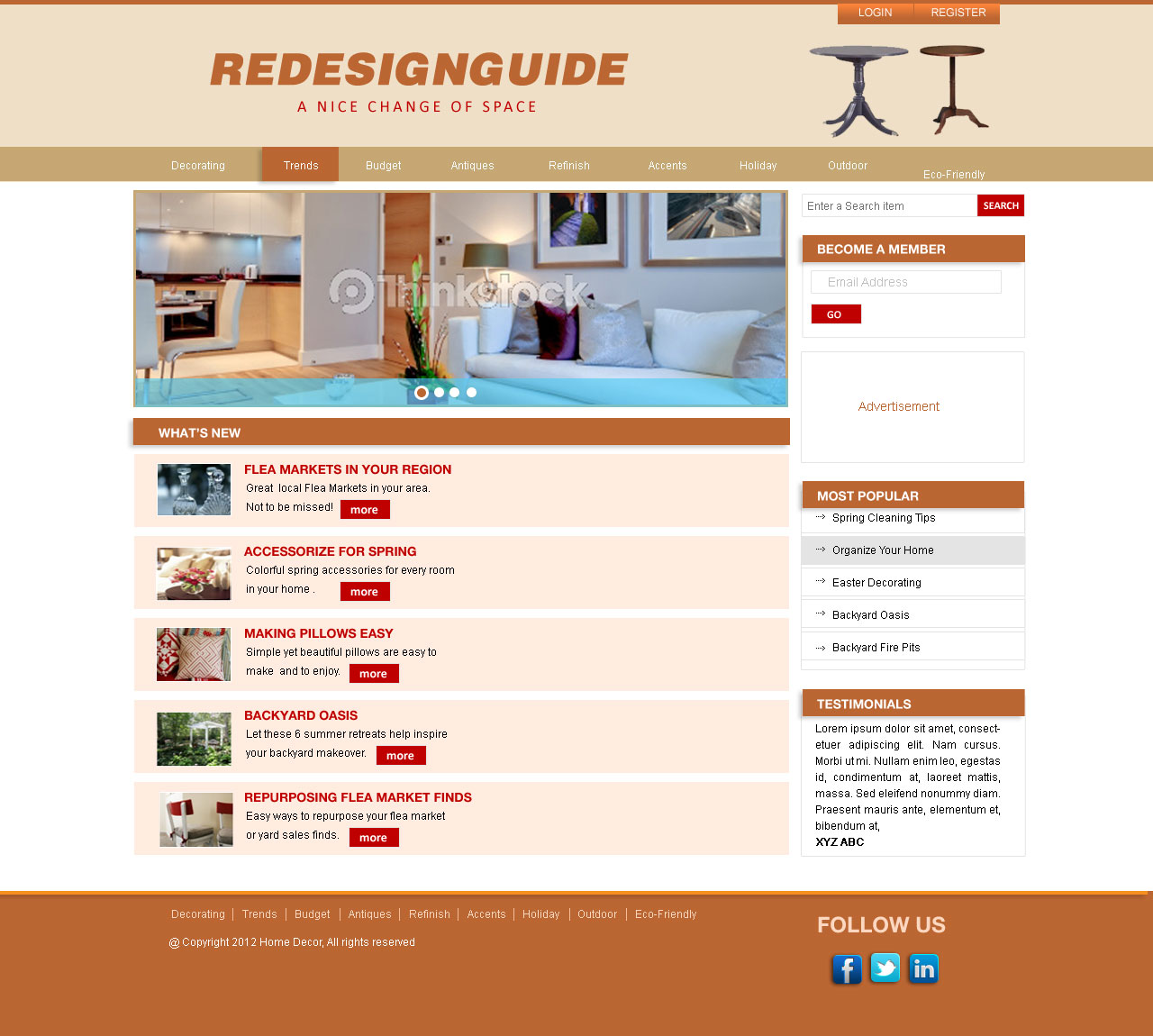 Web Page Design by Private User - Entry No. 7 in the Web Page Design Contest Unique Web Page Design Wanted for Homepage mock up for Home Decor.