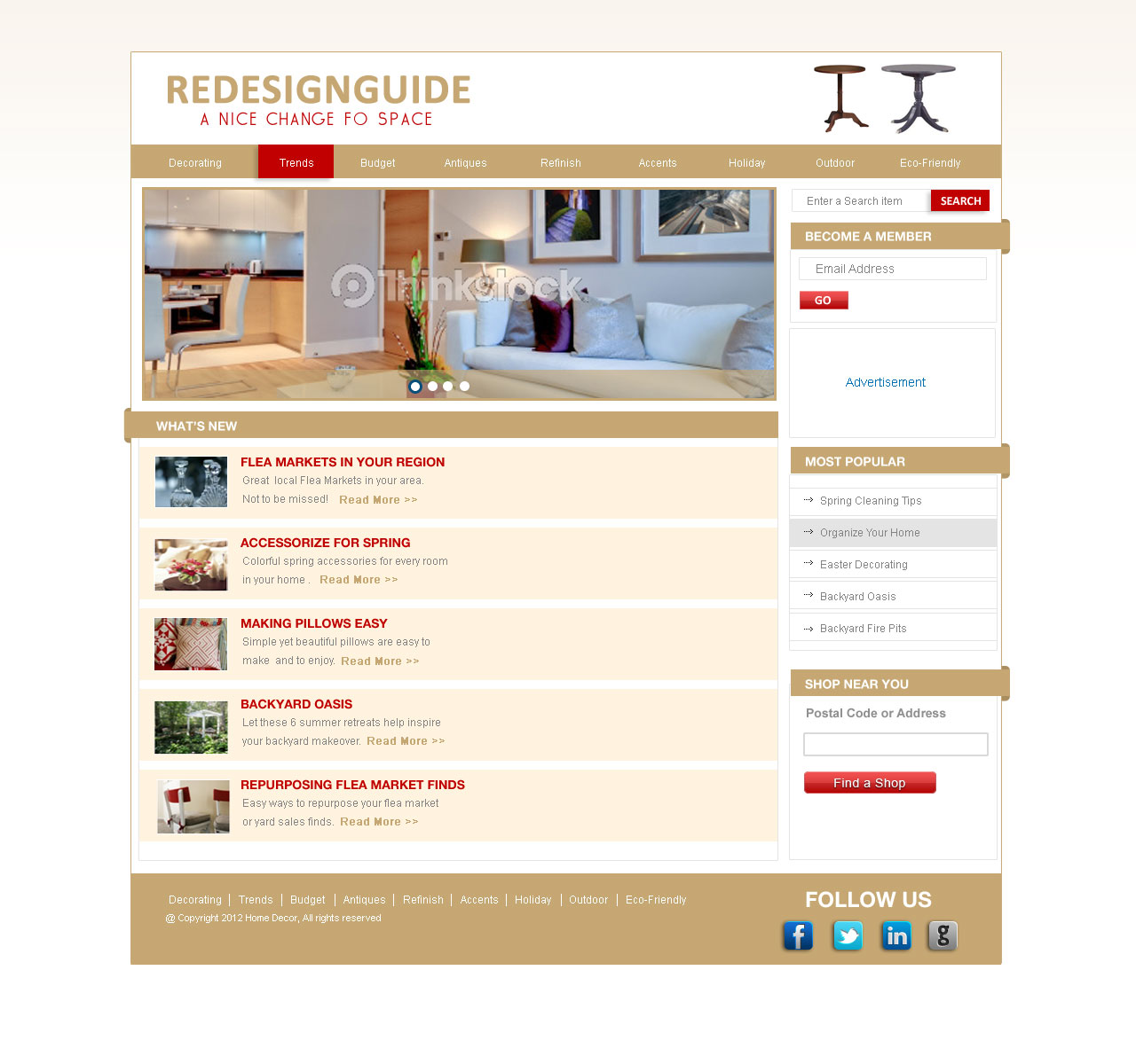Web Page Design by Private User - Entry No. 12 in the Web Page Design Contest Unique Web Page Design Wanted for Homepage mock up for Home Decor.