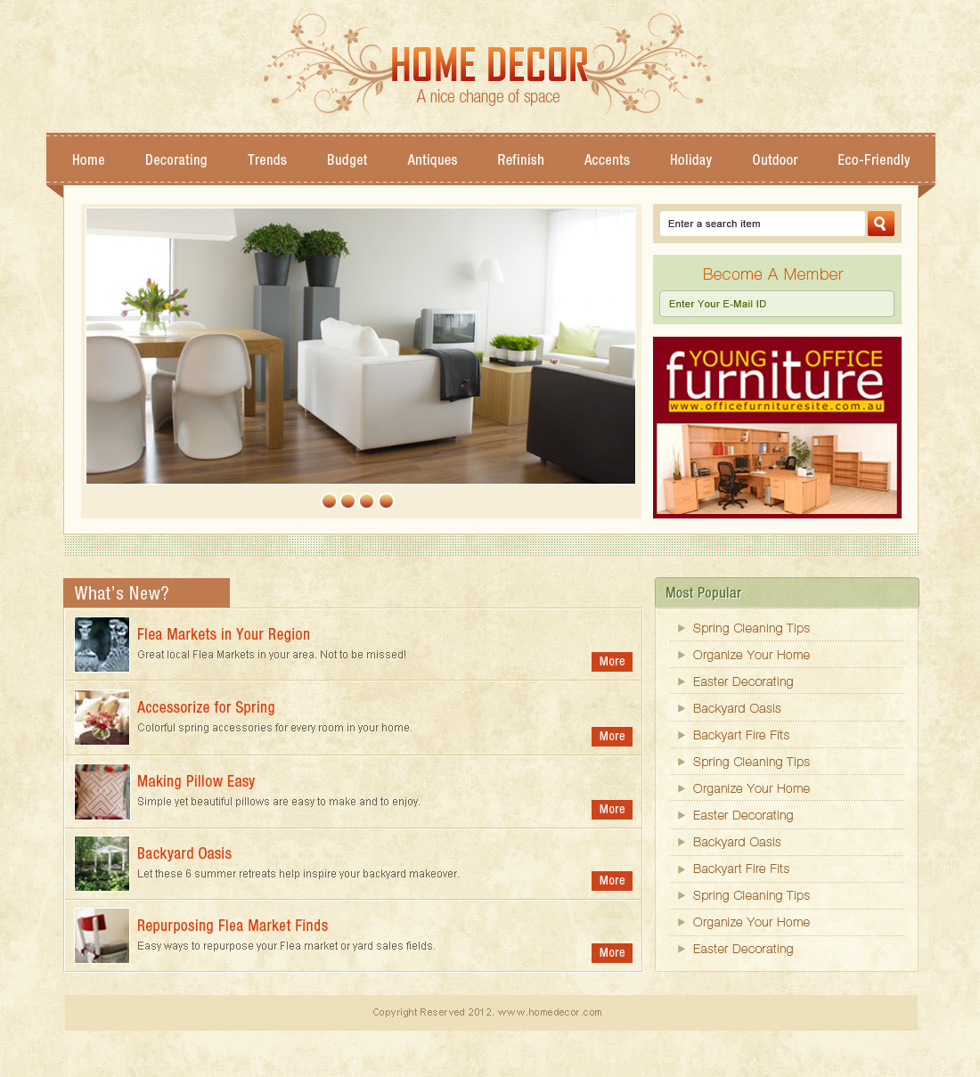 Home page design for Home design website free