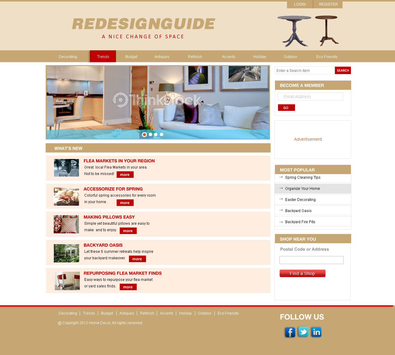 Web Page Design by Private User - Entry No. 14 in the Web Page Design Contest Unique Web Page Design Wanted for Homepage mock up for Home Decor.