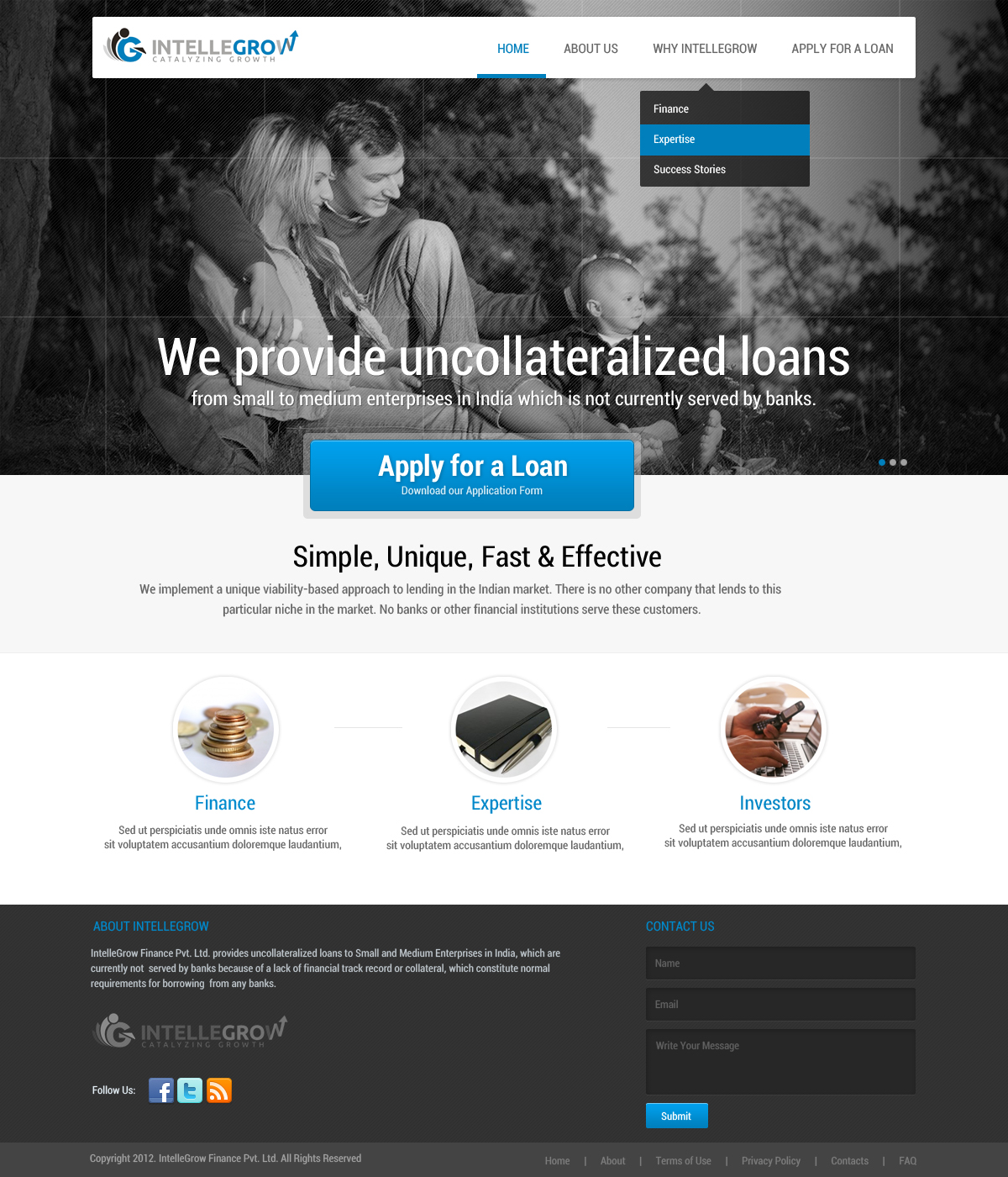 Web Page Design by themesmile - Entry No. 29 in the Web Page Design Contest IntelleGrow Finance Web Page Design.