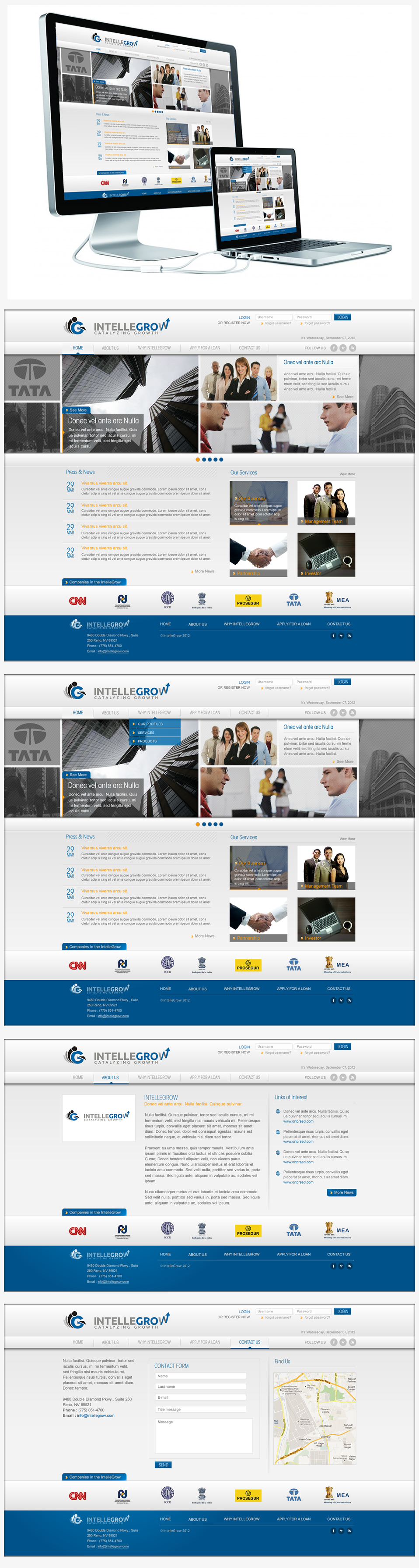 Web Page Design by Juma Studio - Entry No. 39 in the Web Page Design Contest IntelleGrow Finance Web Page Design.