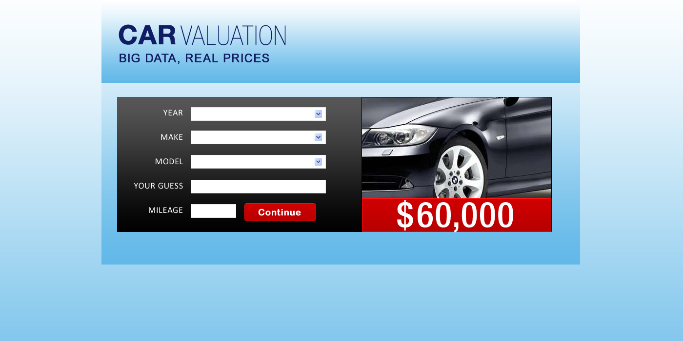 Web Page Design by Private User - Entry No. 27 in the Web Page Design Contest Car valuation Web Page Design.