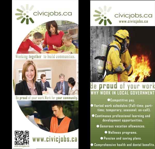 "Print Design by Mythos Designs - Entry No. 10 in the Print Design Contest Print Design Wanted for CivicJobs.ca - 4"" X 9"" rack card, 2 sided, print ready.."