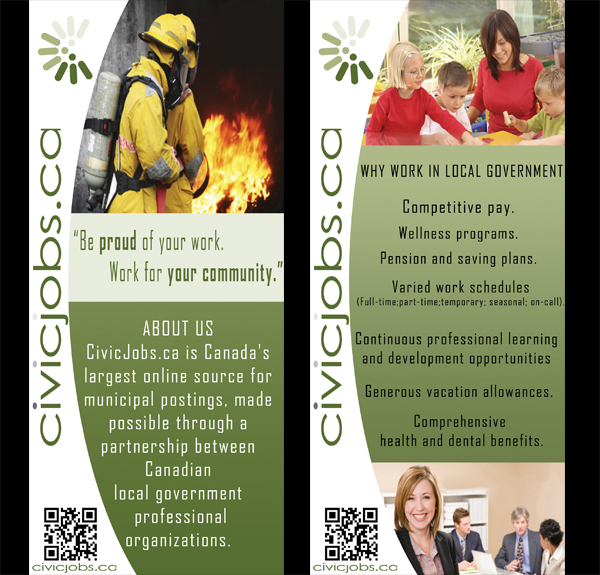 "Print Design by Mythos Designs - Entry No. 11 in the Print Design Contest Print Design Wanted for CivicJobs.ca - 4"" X 9"" rack card, 2 sided, print ready.."