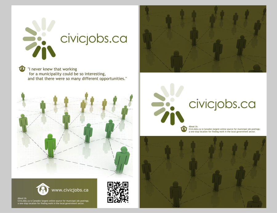"Print Design by Private User - Entry No. 13 in the Print Design Contest Print Design Wanted for CivicJobs.ca - 4"" X 9"" rack card, 2 sided, print ready.."