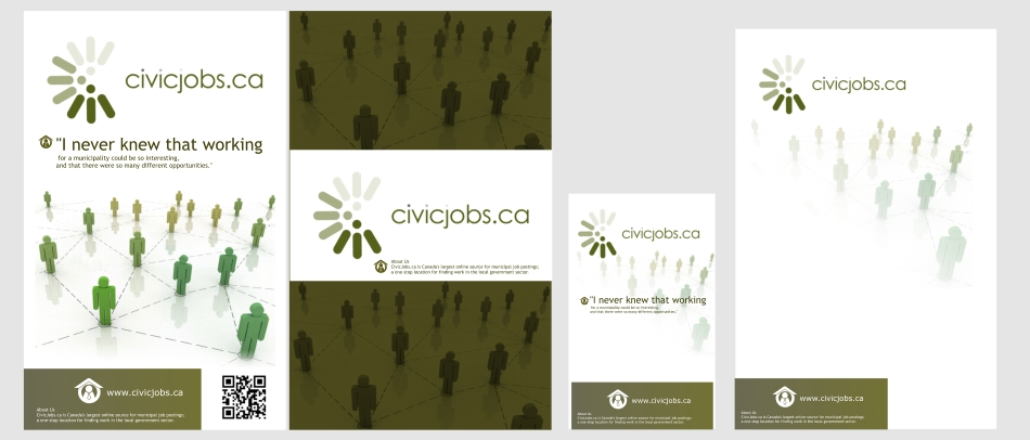 "Print Design by Private User - Entry No. 14 in the Print Design Contest Print Design Wanted for CivicJobs.ca - 4"" X 9"" rack card, 2 sided, print ready.."