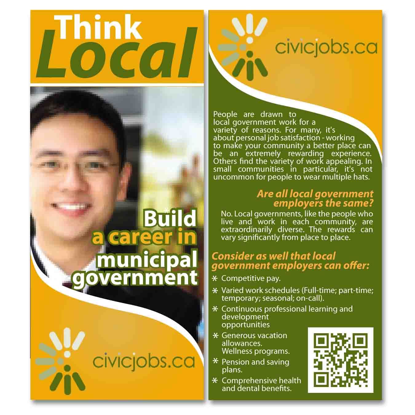 "Print Design by Agung Nugroho - Entry No. 18 in the Print Design Contest Print Design Wanted for CivicJobs.ca - 4"" X 9"" rack card, 2 sided, print ready.."