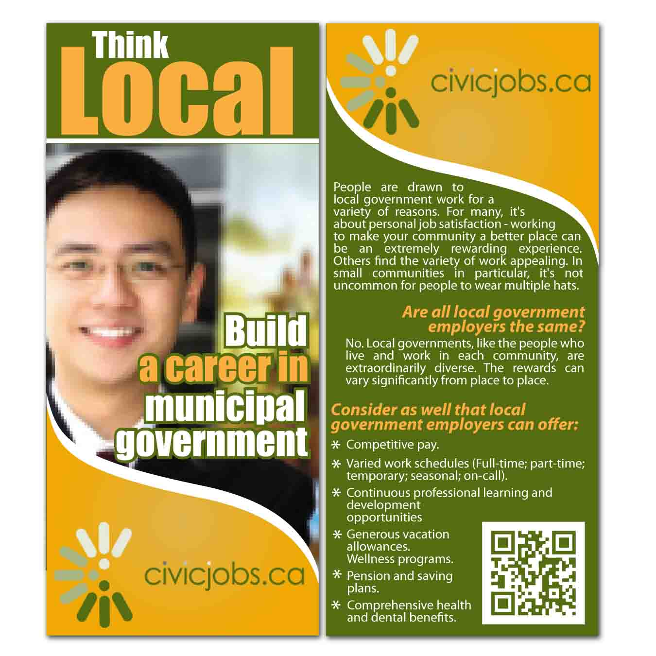 "Print Design by Agung Nugroho - Entry No. 19 in the Print Design Contest Print Design Wanted for CivicJobs.ca - 4"" X 9"" rack card, 2 sided, print ready.."
