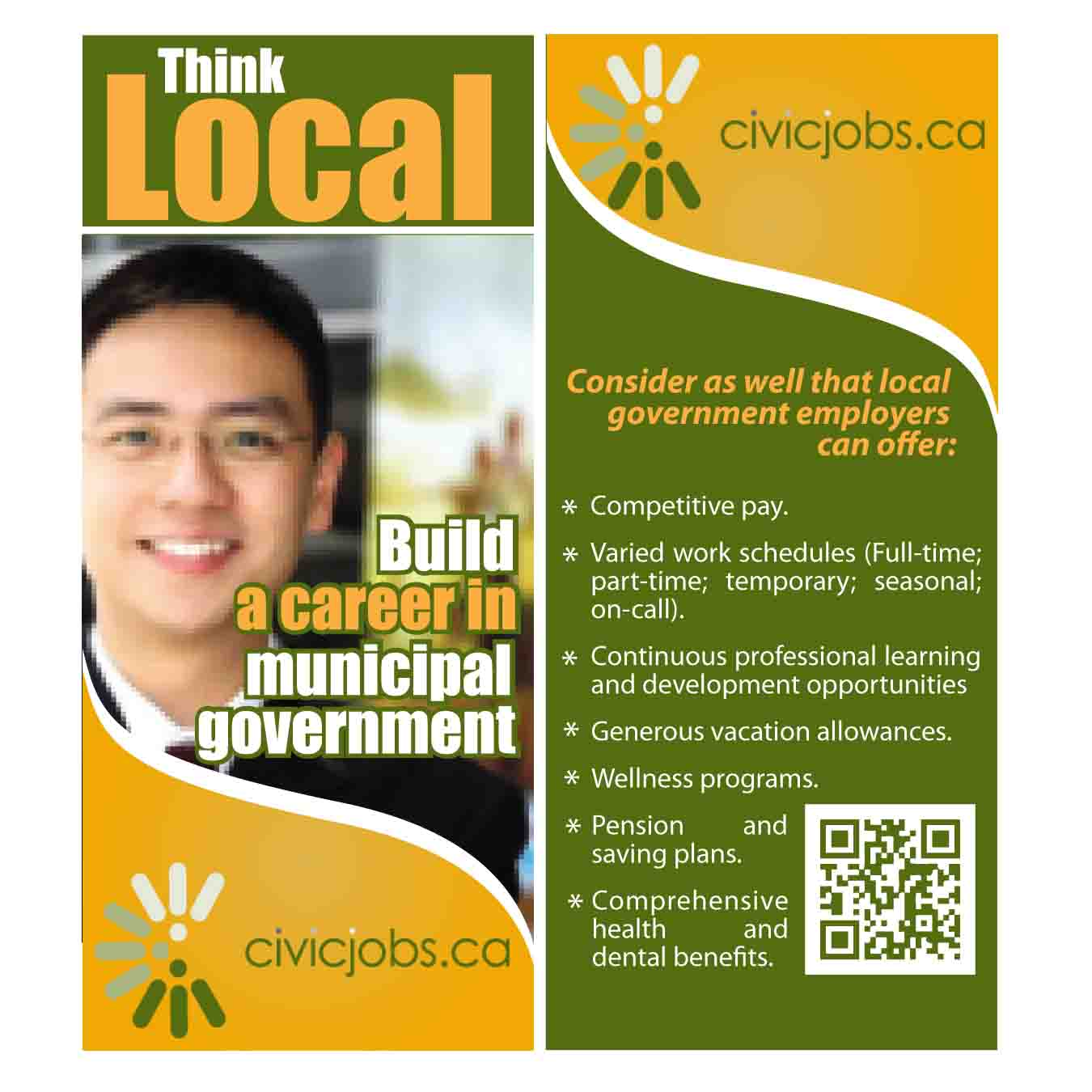 "Print Design by Agung Nugroho - Entry No. 20 in the Print Design Contest Print Design Wanted for CivicJobs.ca - 4"" X 9"" rack card, 2 sided, print ready.."