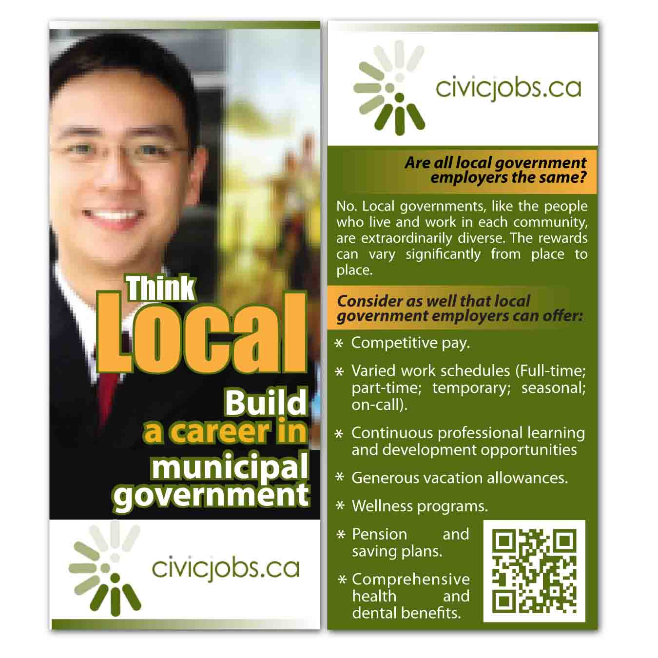 "Print Design by Agung Nugroho - Entry No. 21 in the Print Design Contest Print Design Wanted for CivicJobs.ca - 4"" X 9"" rack card, 2 sided, print ready.."