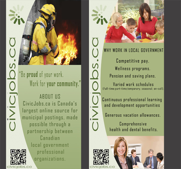 """Print Design by Mythos Designs - Entry No. 23 in the Print Design Contest Print Design Wanted for CivicJobs.ca - 4"""" X 9"""" rack card, 2 sided, print ready.."""