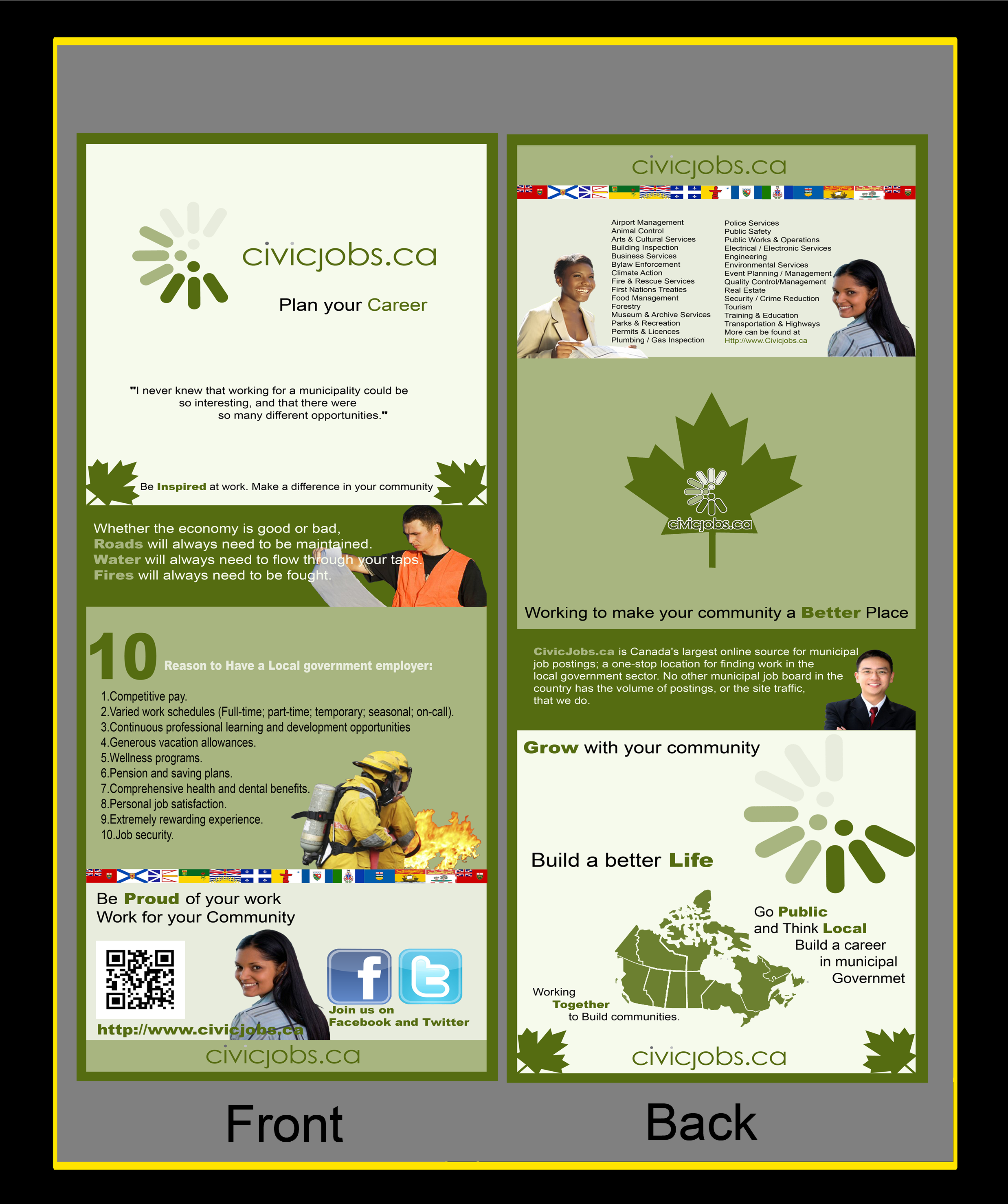 """Print Design by Justin Freedom - Entry No. 33 in the Print Design Contest Print Design Wanted for CivicJobs.ca - 4"""" X 9"""" rack card, 2 sided, print ready.."""