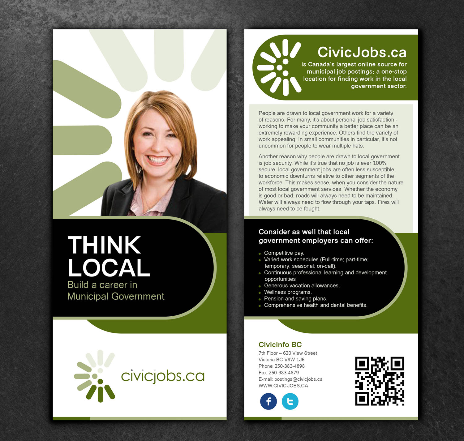 "Print Design by Private User - Entry No. 43 in the Print Design Contest Print Design Wanted for CivicJobs.ca - 4"" X 9"" rack card, 2 sided, print ready.."