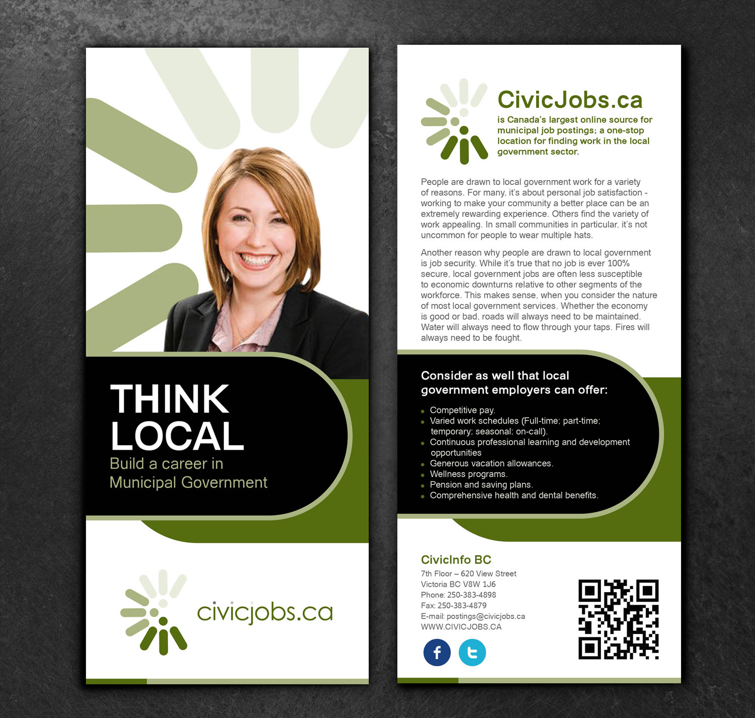 "Print Design by Private User - Entry No. 44 in the Print Design Contest Print Design Wanted for CivicJobs.ca - 4"" X 9"" rack card, 2 sided, print ready.."