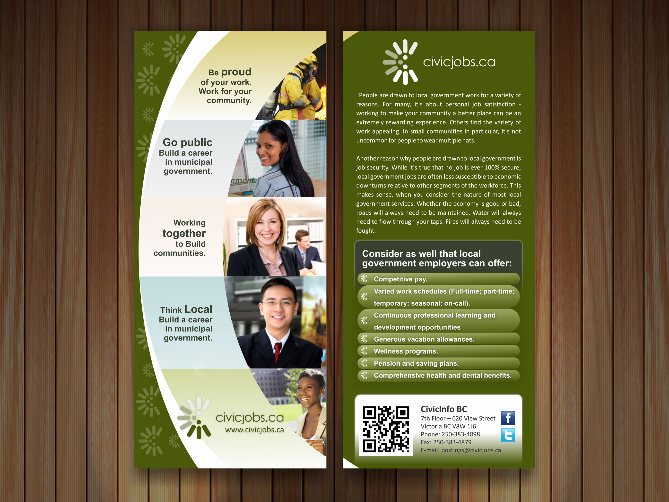 """Print Design by Muhammad Aslam - Entry No. 45 in the Print Design Contest Print Design Wanted for CivicJobs.ca - 4"""" X 9"""" rack card, 2 sided, print ready.."""