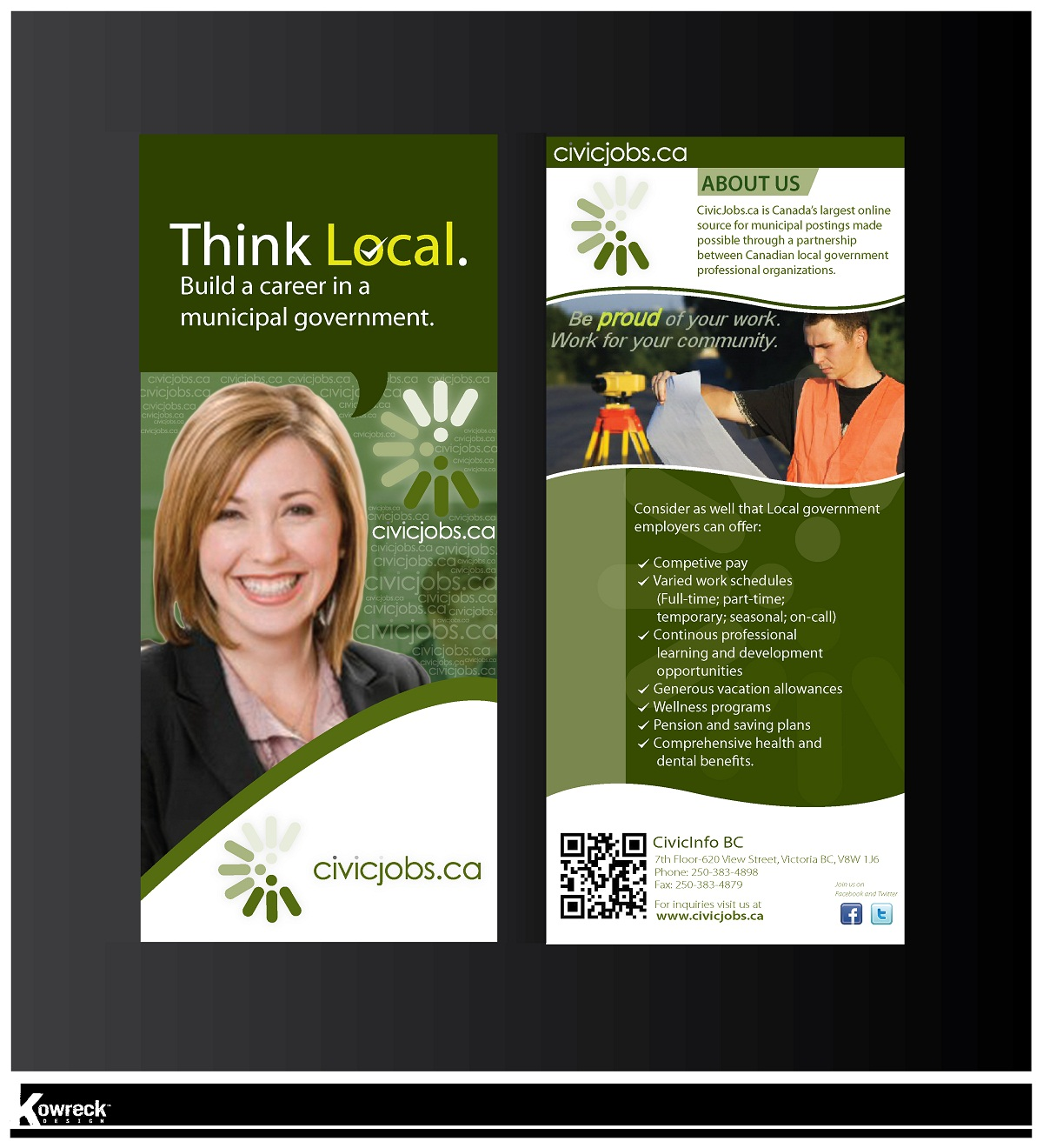 "Print Design by kowreck - Entry No. 56 in the Print Design Contest Print Design Wanted for CivicJobs.ca - 4"" X 9"" rack card, 2 sided, print ready.."