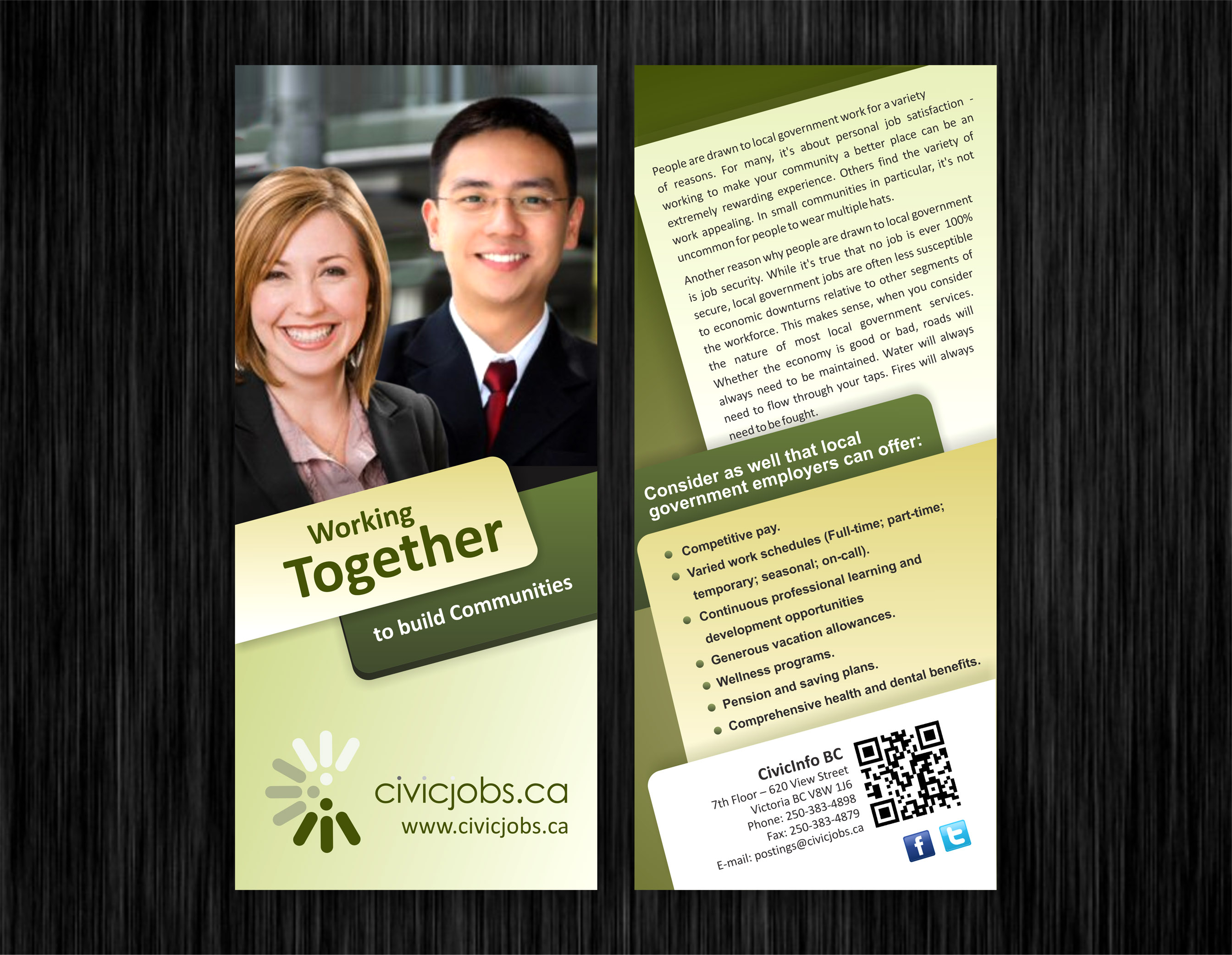 """Print Design by Muhammad Aslam - Entry No. 61 in the Print Design Contest Print Design Wanted for CivicJobs.ca - 4"""" X 9"""" rack card, 2 sided, print ready.."""