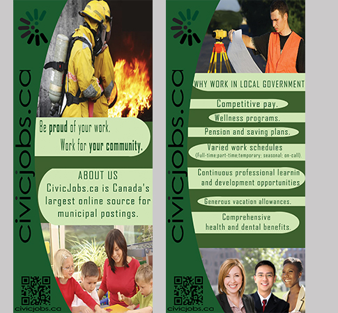 """Print Design by Mythos Designs - Entry No. 63 in the Print Design Contest Print Design Wanted for CivicJobs.ca - 4"""" X 9"""" rack card, 2 sided, print ready.."""