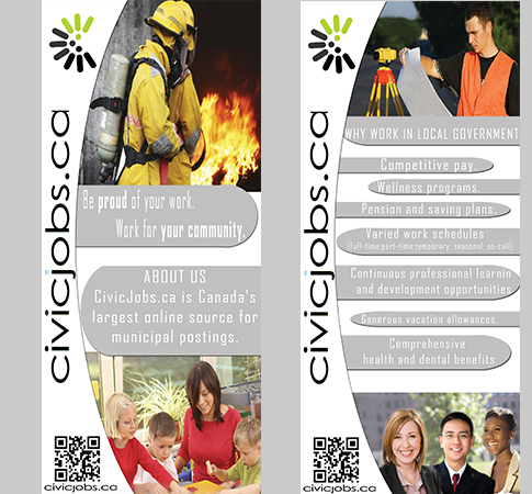 "Print Design by Mythos Designs - Entry No. 64 in the Print Design Contest Print Design Wanted for CivicJobs.ca - 4"" X 9"" rack card, 2 sided, print ready.."