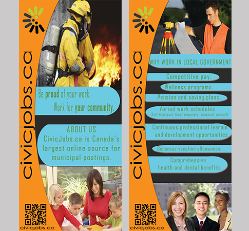 "Print Design by Mythos Designs - Entry No. 65 in the Print Design Contest Print Design Wanted for CivicJobs.ca - 4"" X 9"" rack card, 2 sided, print ready.."