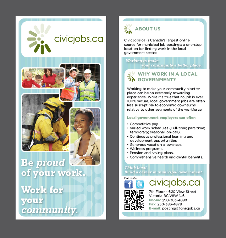 "Print Design by Jessica Kim - Entry No. 70 in the Print Design Contest Print Design Wanted for CivicJobs.ca - 4"" X 9"" rack card, 2 sided, print ready.."