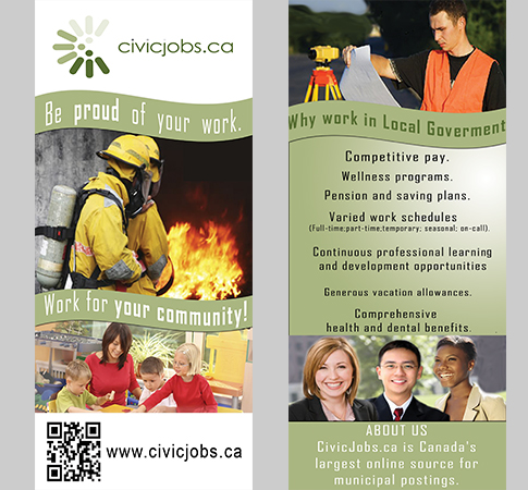"Print Design by Mythos Designs - Entry No. 73 in the Print Design Contest Print Design Wanted for CivicJobs.ca - 4"" X 9"" rack card, 2 sided, print ready.."