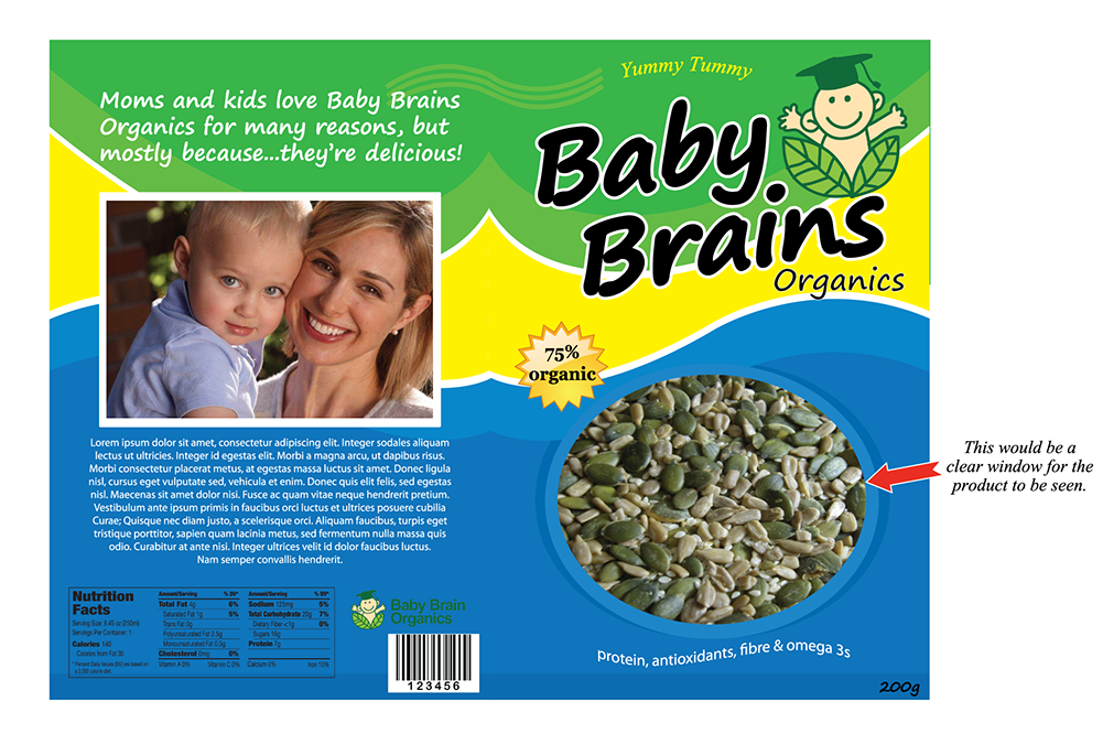 Packaging Design by robken0174 - Entry No. 1 in the Packaging Design Contest Baby Brain Organics Packaging Design.
