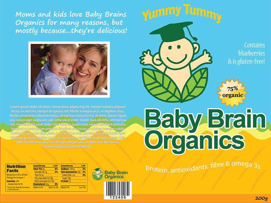 Packaging Design by robken0174 - Entry No. 14 in the Packaging Design Contest Baby Brain Organics Packaging Design.