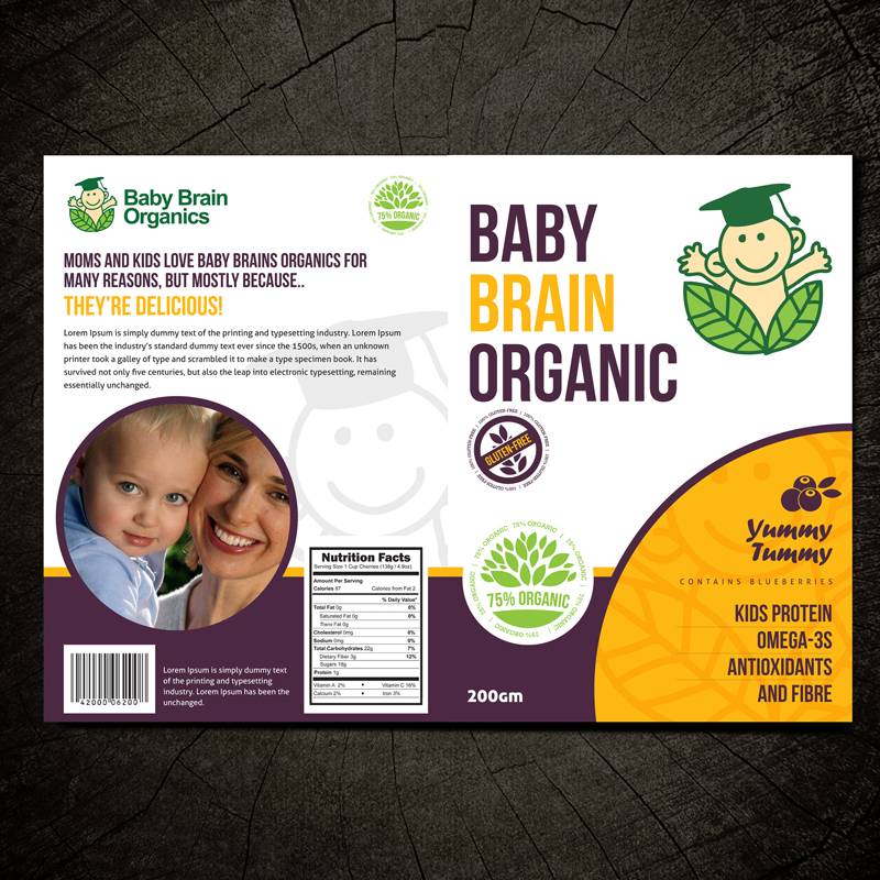 Packaging Design by Private User - Entry No. 18 in the Packaging Design Contest Baby Brain Organics Packaging Design.