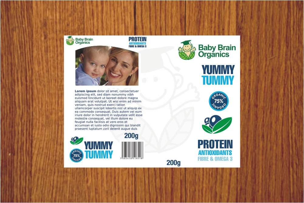 Packaging Design by Private User - Entry No. 26 in the Packaging Design Contest Baby Brain Organics Packaging Design.