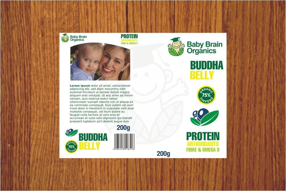 Packaging Design by Private User - Entry No. 27 in the Packaging Design Contest Baby Brain Organics Packaging Design.