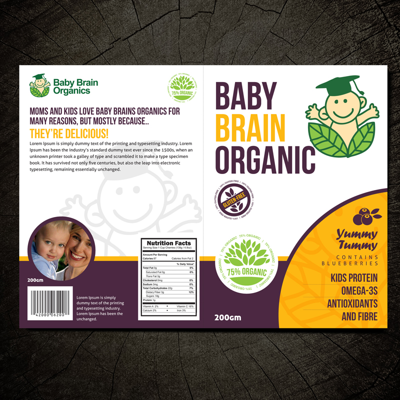 Packaging Design by Private User - Entry No. 29 in the Packaging Design Contest Baby Brain Organics Packaging Design.