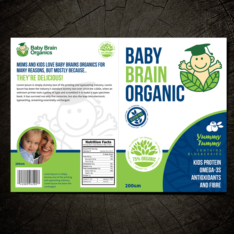 Packaging Design by Private User - Entry No. 30 in the Packaging Design Contest Baby Brain Organics Packaging Design.