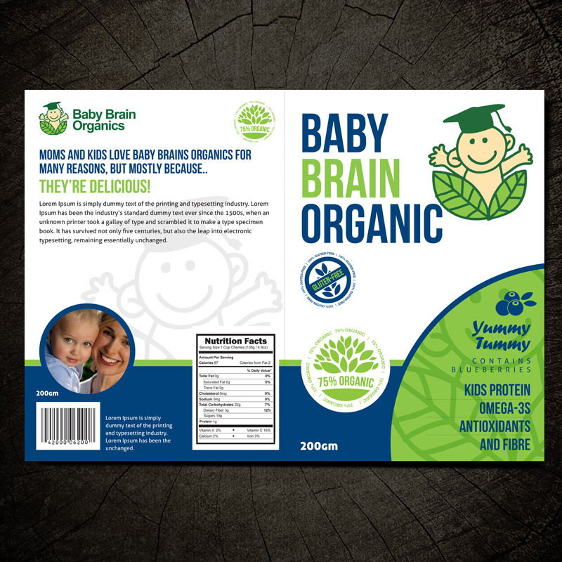Packaging Design by Private User - Entry No. 31 in the Packaging Design Contest Baby Brain Organics Packaging Design.