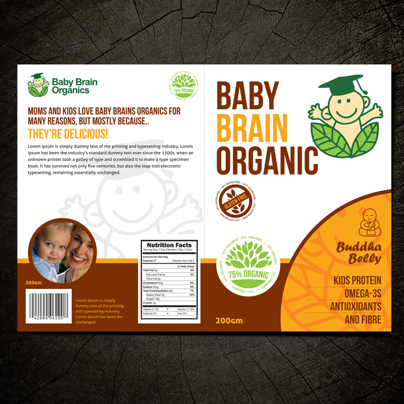 Packaging Design by Private User - Entry No. 37 in the Packaging Design Contest Baby Brain Organics Packaging Design.