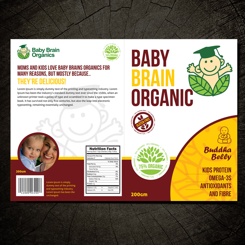 Packaging Design by Private User - Entry No. 38 in the Packaging Design Contest Baby Brain Organics Packaging Design.