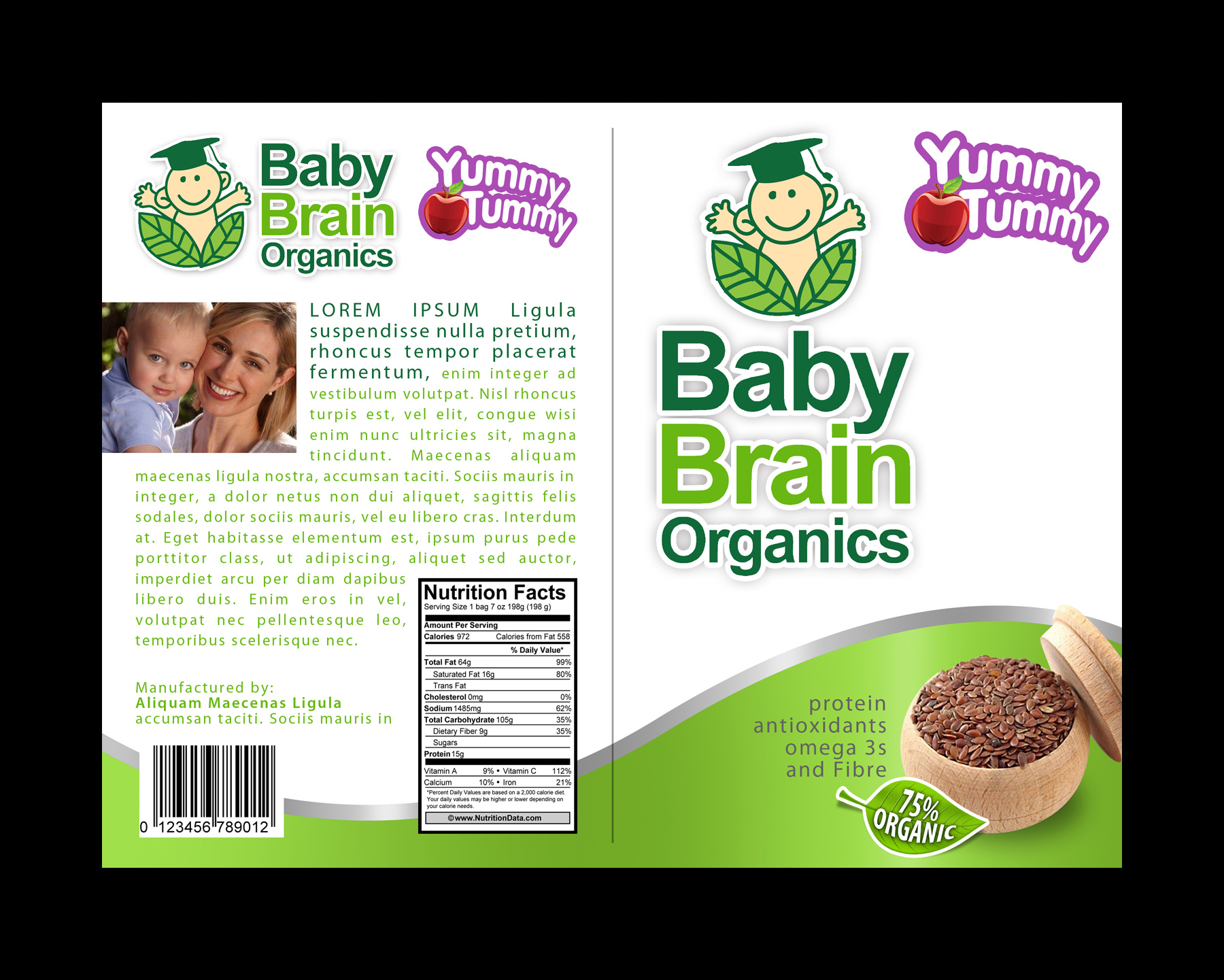 Packaging Design by moidgreat - Entry No. 40 in the Packaging Design Contest Baby Brain Organics Packaging Design.