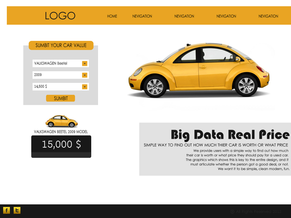 Web Page Design by Tathastu Sharma - Entry No. 15 in the Web Page Design Contest Car valuation Web Page Design.