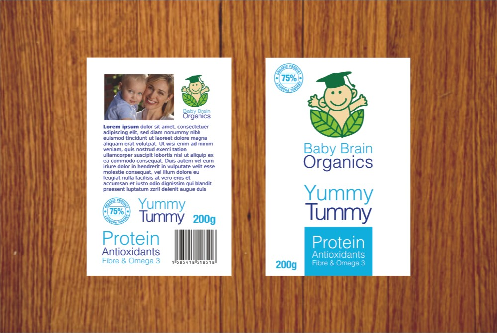 Packaging Design by Private User - Entry No. 45 in the Packaging Design Contest Baby Brain Organics Packaging Design.