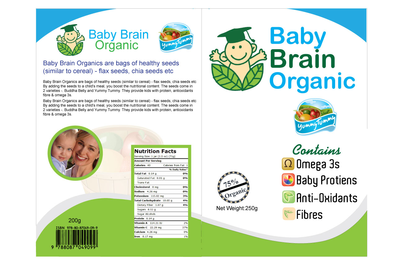 Packaging Design by Osama Zia - Entry No. 49 in the Packaging Design Contest Baby Brain Organics Packaging Design.