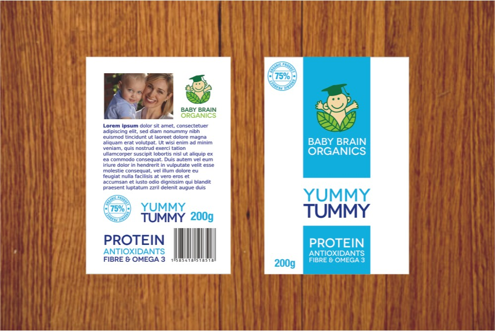 Packaging Design by Private User - Entry No. 55 in the Packaging Design Contest Baby Brain Organics Packaging Design.
