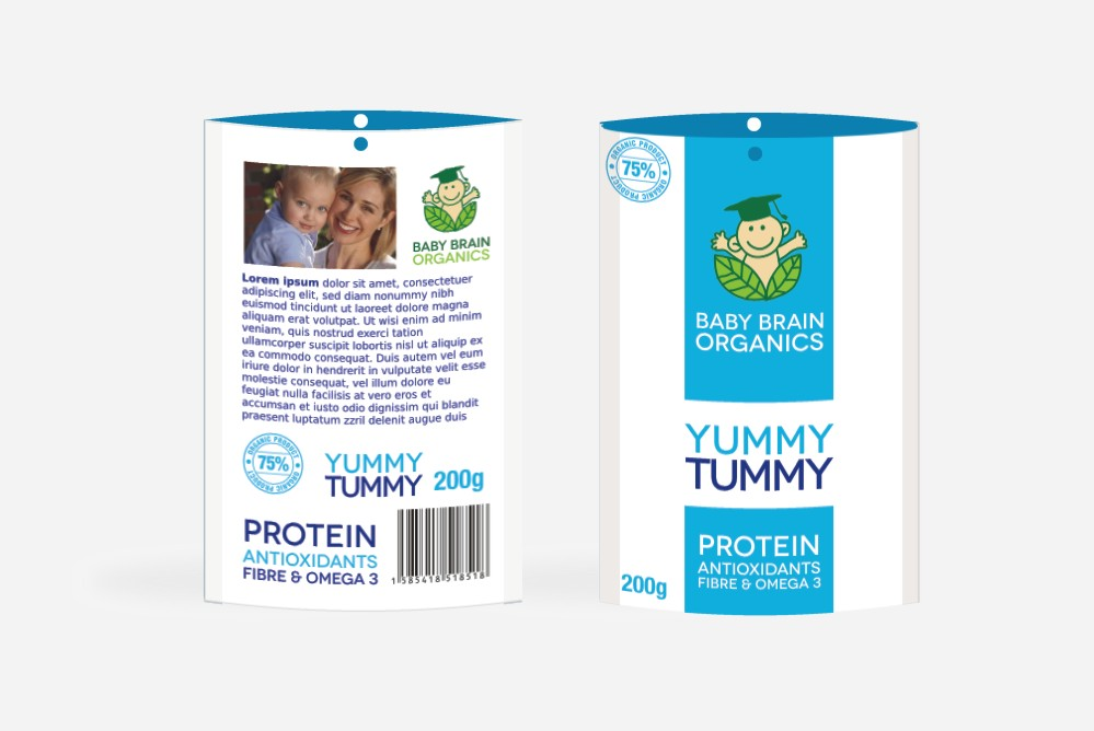 Packaging Design by Private User - Entry No. 57 in the Packaging Design Contest Baby Brain Organics Packaging Design.