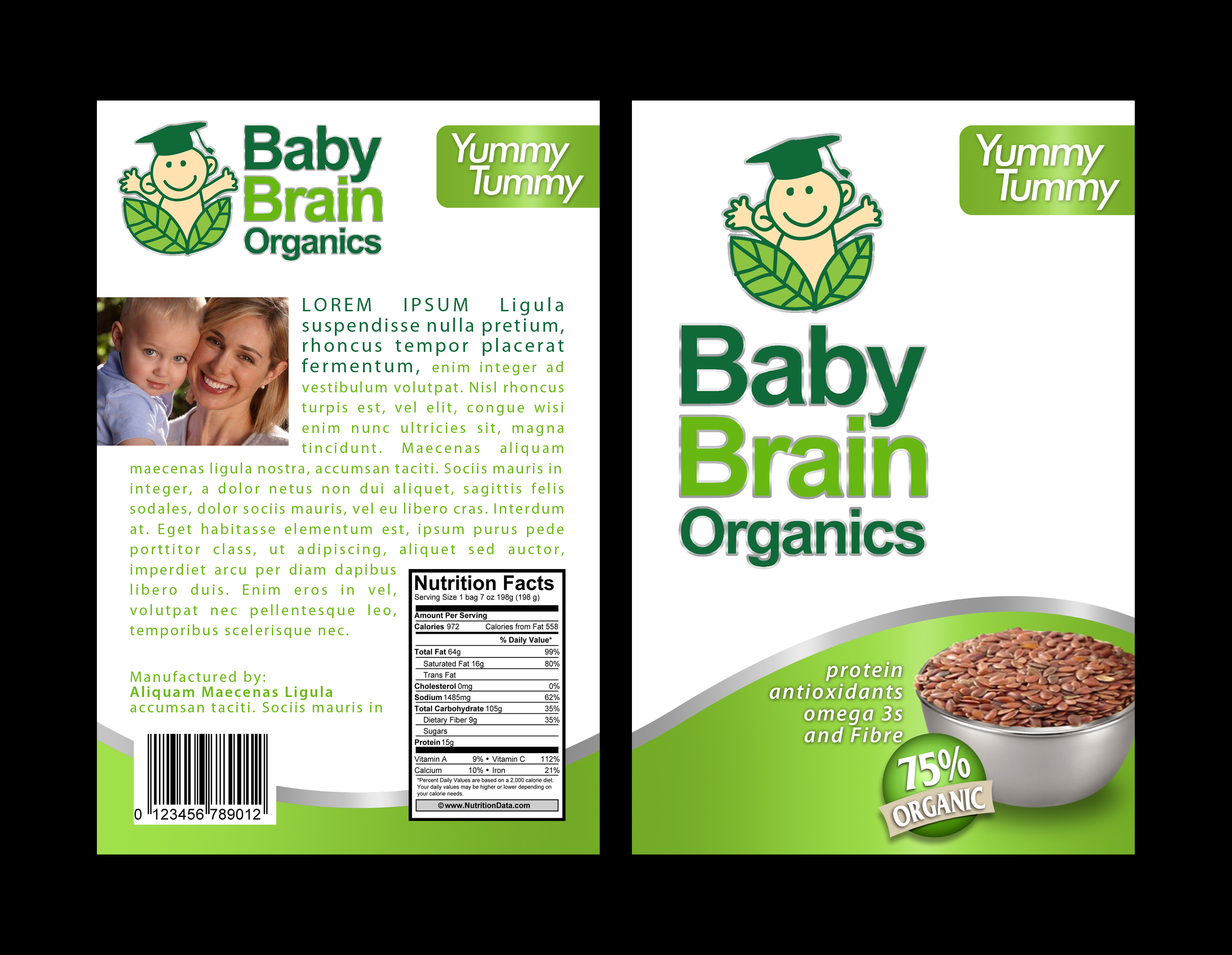 Packaging Design by moidgreat - Entry No. 71 in the Packaging Design Contest Baby Brain Organics Packaging Design.