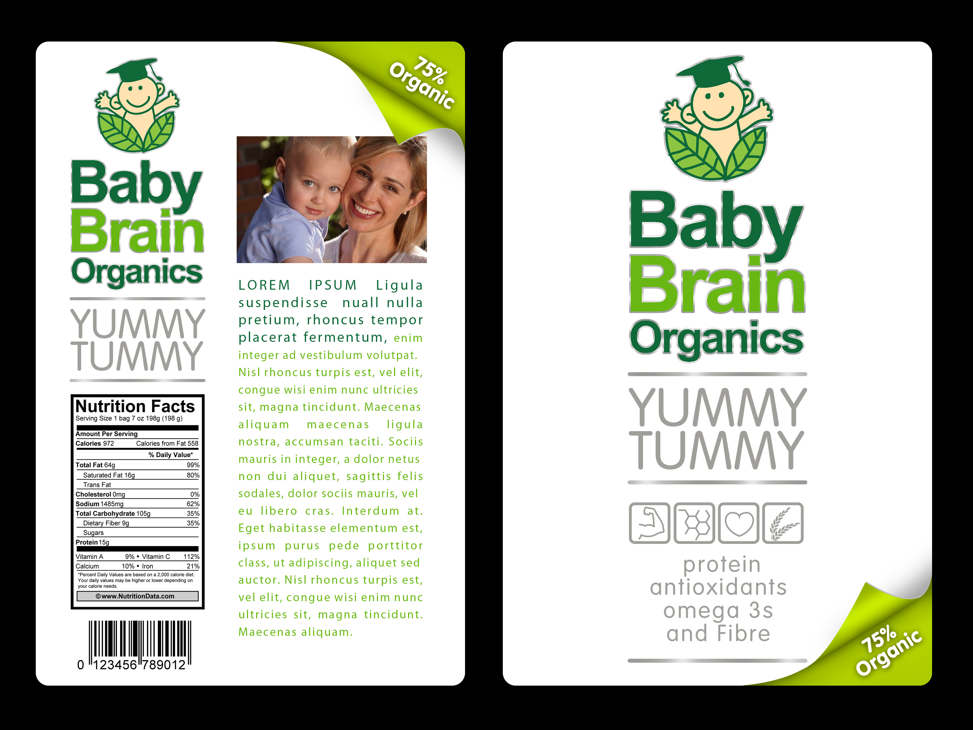 Packaging Design by moidgreat - Entry No. 76 in the Packaging Design Contest Baby Brain Organics Packaging Design.