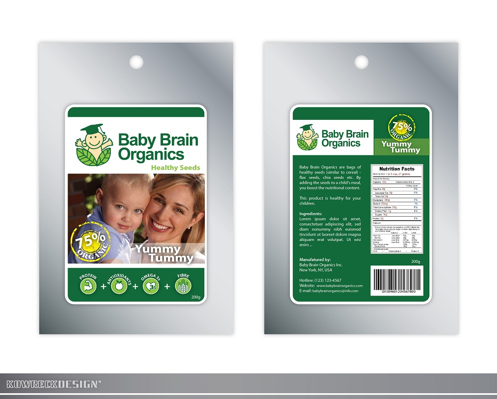 Packaging Design by kowreck - Entry No. 90 in the Packaging Design Contest Baby Brain Organics Packaging Design.