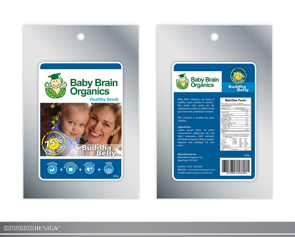 Packaging Design by kowreck - Entry No. 91 in the Packaging Design Contest Baby Brain Organics Packaging Design.