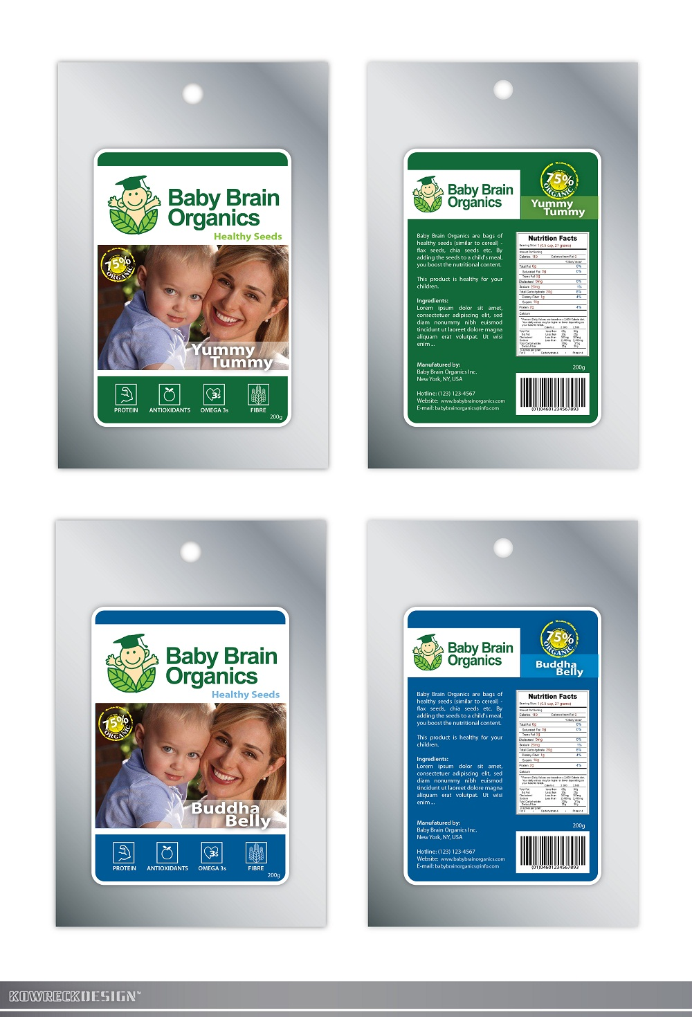 Packaging Design by kowreck - Entry No. 93 in the Packaging Design Contest Baby Brain Organics Packaging Design.