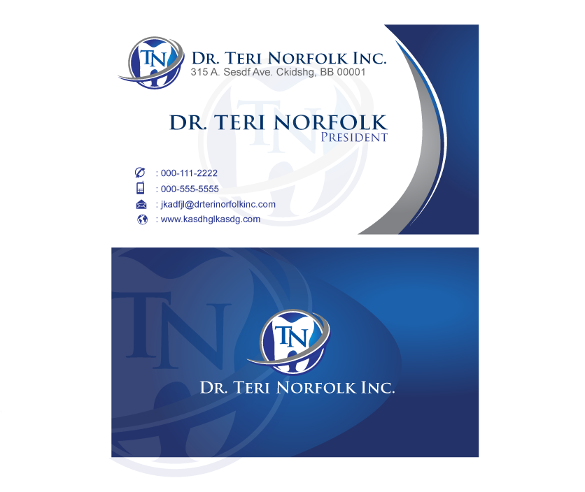 Business Card Design by rust_shell - Entry No. 38 in the Business Card Design Contest Unique Business Card Design Wanted for Dr. Teri Norfolk Inc..
